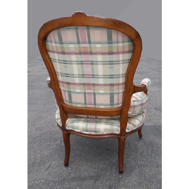 Vintage French Country Carved Wood & Plaid Arm Chair - Image 5 of 11