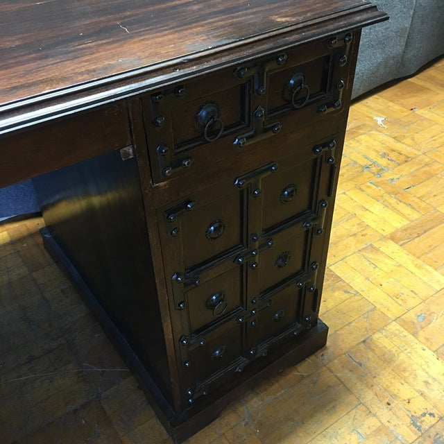 Dark Wood & Iron Gothic Desk - Image 7 of 11