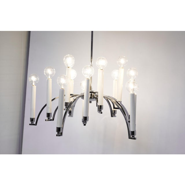 Midcentury Modern 14-Arm Chrome Chandelier by Lightolier For Sale - Image 9 of 12