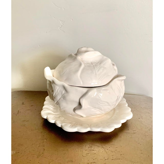 White Studio Cabbage Leaf Ceramic Bowl and Plate, Artist Signed For Sale - Image 9 of 9