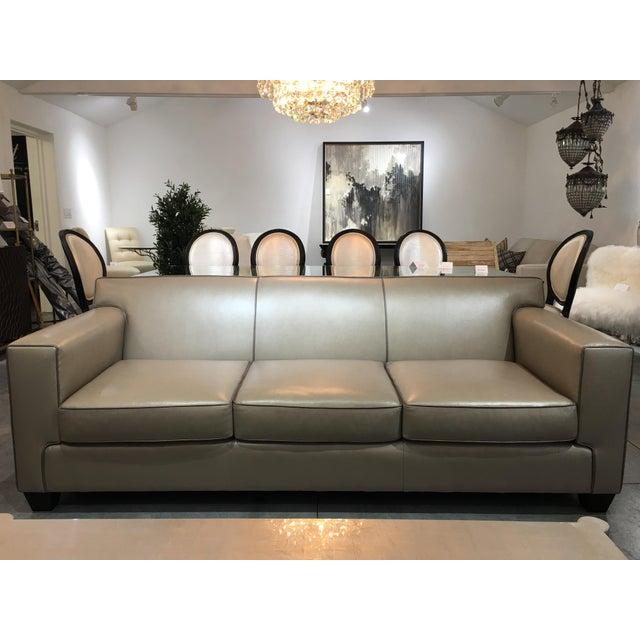 Modern LeatherCraft Custom Pearlized Italian Leather Sofa For Sale - Image 13 of 13