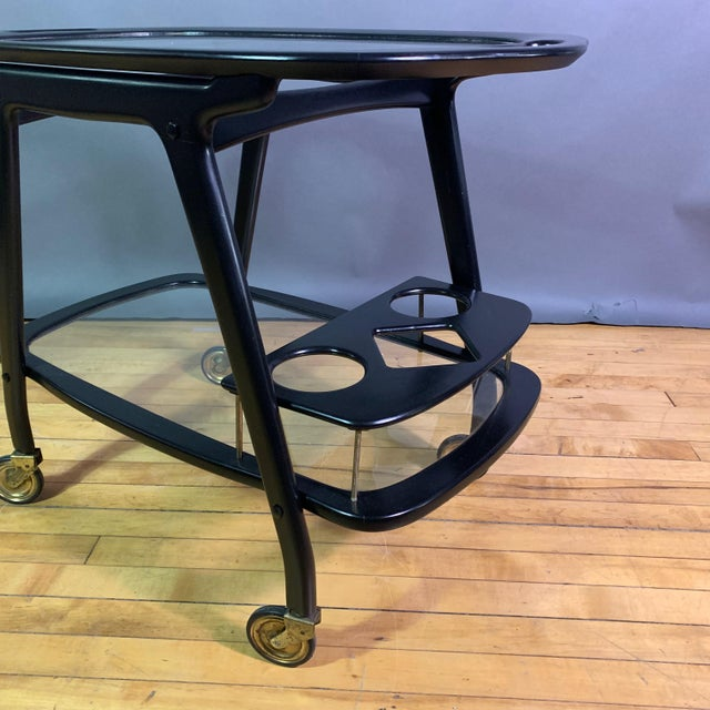 Italian Ico Parisi 1955 Ebonized Mahogany Bar Cart, Italy For Sale - Image 3 of 11