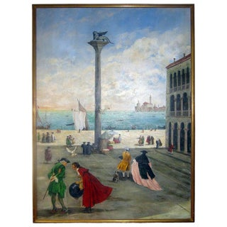 Late 20th Century Valerio Zerbo San Marco Piazza Large Oil Painting For Sale