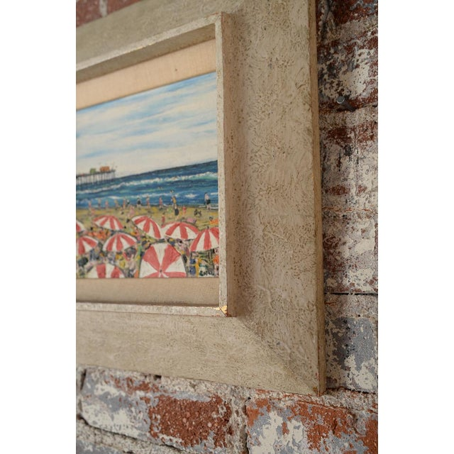 Santa Monica Pier Beach Scene 1950s Oil Painting - Image 9 of 10