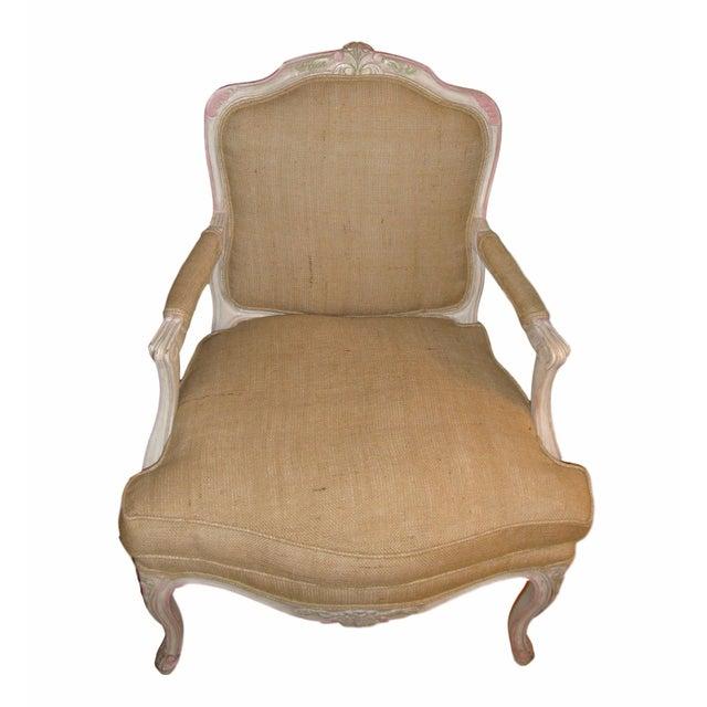 Louis XVI Style Paint Decorated Bergère Armchair For Sale