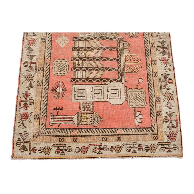 "Antique Khotan Pink Jewel Tone Hand-Knotted Rug -4'4""x 8'1"" - Image 2 of 4"