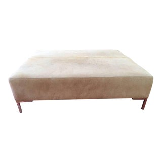 Natural Tan Cowhide Ottoman Coffee Table For Sale