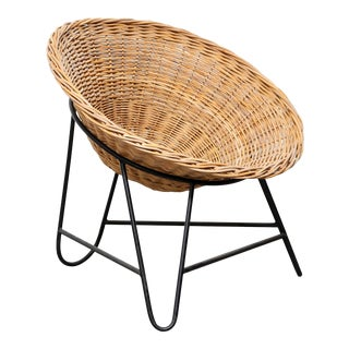 Vintage Wicker and Metal Basket Chair For Sale