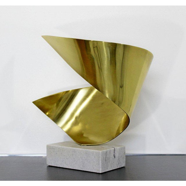 Mid-Century Modern Bronze Ribbon Marble Table Sculpture Signed James Nani 1978 For Sale In Detroit - Image 6 of 13