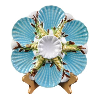 Late 19th Century George Jones Majolica Turquoise Oyster Plate For Sale