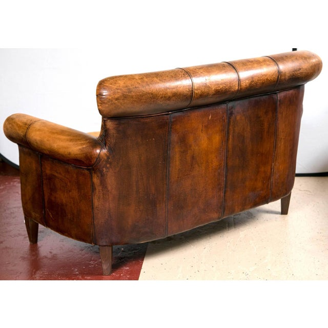 Vintage French Distressed Art Deco Leather Sofa - Image 8 of 9