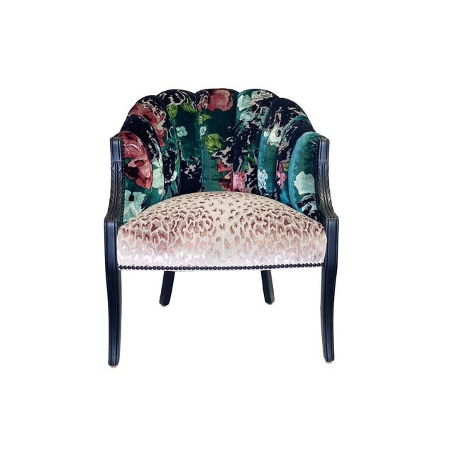 Teal Vintage Channel Back Chair For Sale - Image 8 of 8