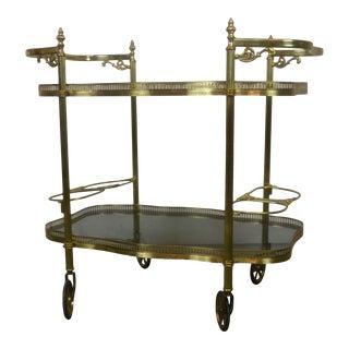 Italian Brass Bar Cart For Sale