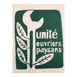"""1968 Original French Riot Poster - Paris Student Riot Poster """"Unité Ouvriers Paysans """" For Sale"""