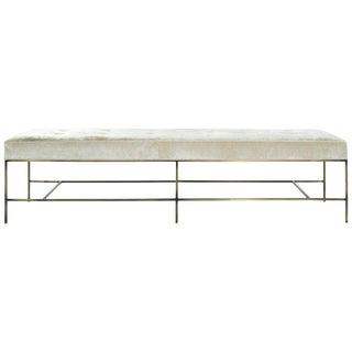 Extra Long Architectural Bronze Bench in Chenille For Sale