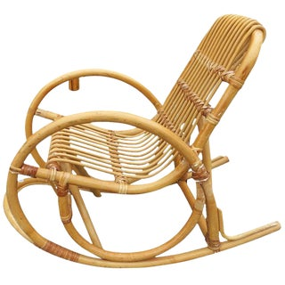 Restored Rare Child's Snake Arm Rattan Rocking Chair For Sale