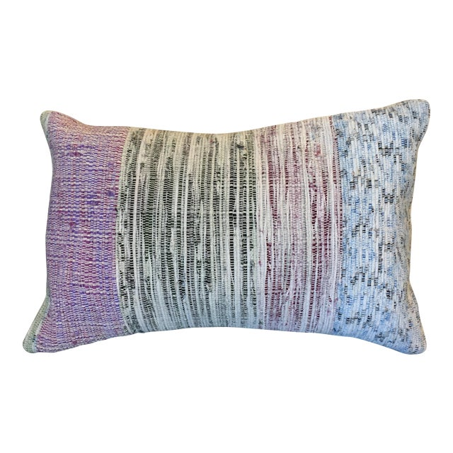 Vintage Rag Rug Kilim Pillow For Sale