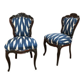 Antique 19th C. Magesy Abercorn Rococo Ikat Upholstered Side Chairs - a Pair