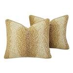 "Custom-Tailored Antelope Fawn Spot Velvet Feather/Down Pillows 21"" X 18"" - Pair"