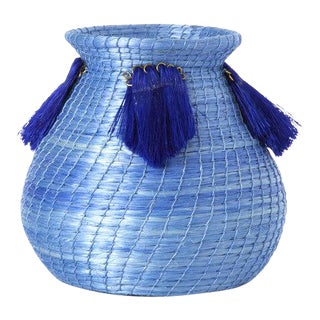 Mini Fanned Out Vase Bulbous Denim For Sale