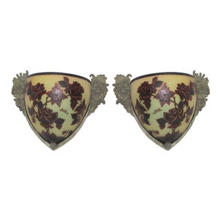 Art Deco Cut Art Glass Bronze Frames Leaf Design Sconces After Galle - a Pair For Sale