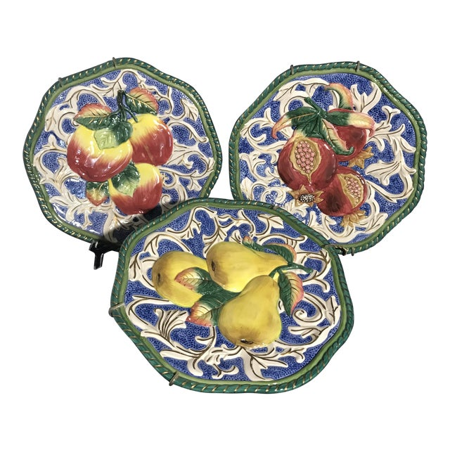 Fitz floyd florentine fruit canap wall plates set of for Canape plate sets