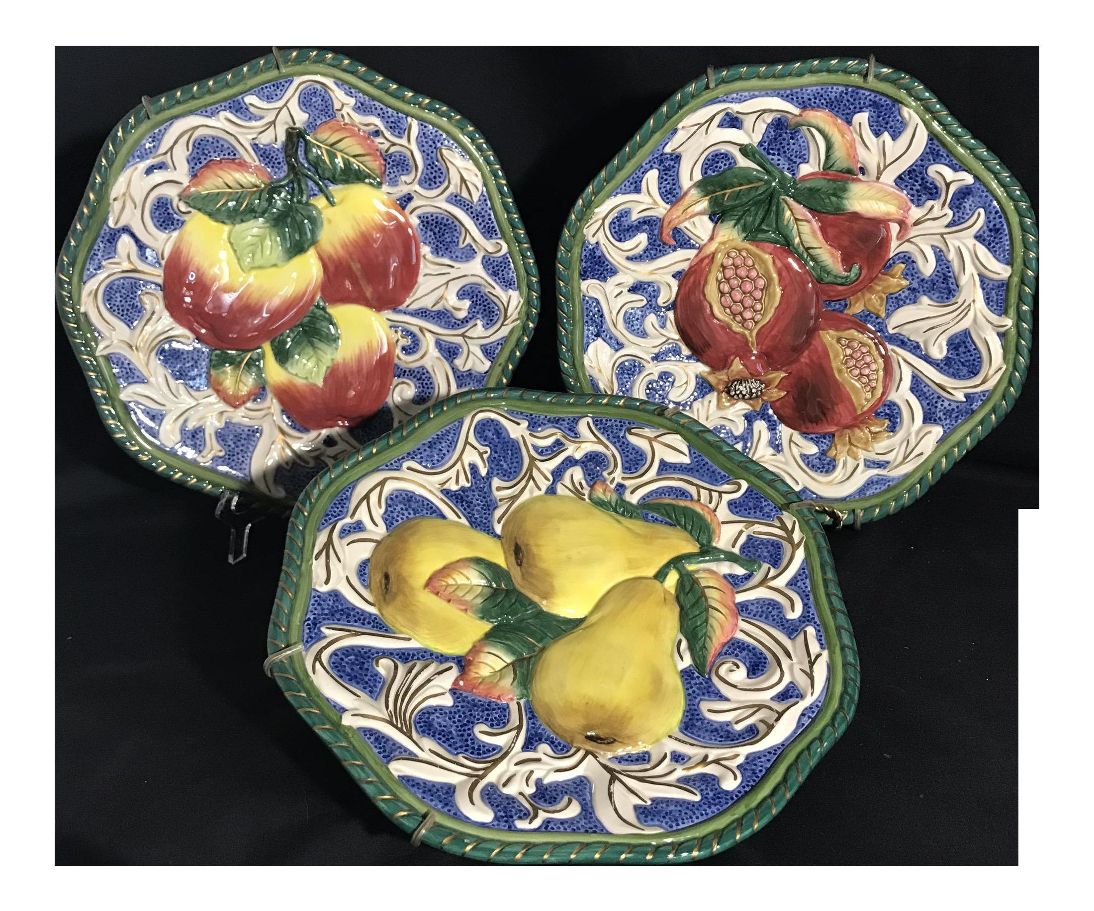 Fitz u0026 Floyd Florentine Fruit Canapé Wall Plates - Set of 3 - Image 1 of  sc 1 st  Chairish & Fitz u0026 Floyd Florentine Fruit Canapé Wall Plates - Set of 3 | Chairish