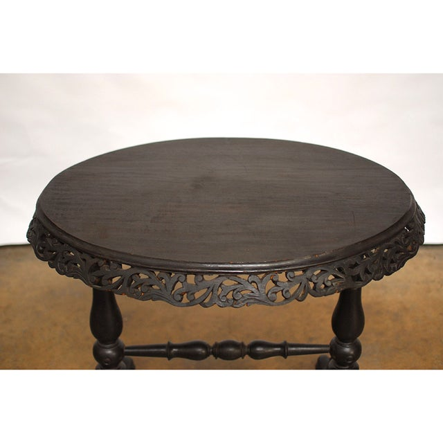 Vintage Carved Rosewood Oval Side Table - Image 3 of 6