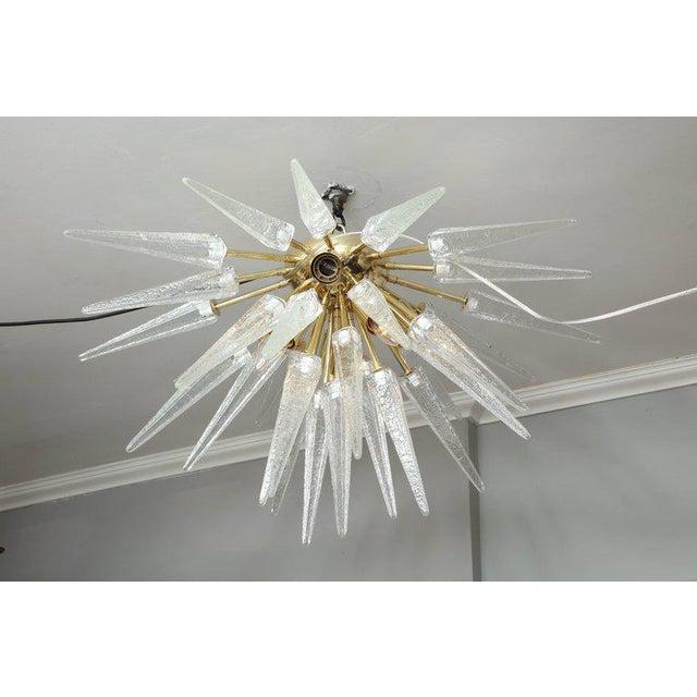 Metal Murano Clear Spike Half Flush-Mount Sputnik For Sale - Image 7 of 7
