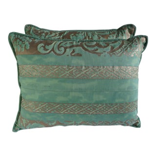 Pair of Custom Aqua Green Fortuny Pillows For Sale