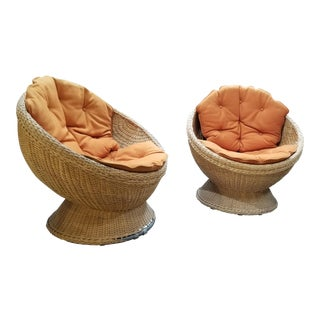 1970's Mod Rattan Lounge Chairs, a Pair For Sale