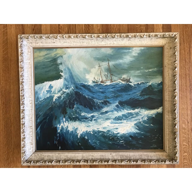 """1963 Bonnie Posselli """"Storm Tossed"""" Nautical Oil Painting - Image 2 of 8"""