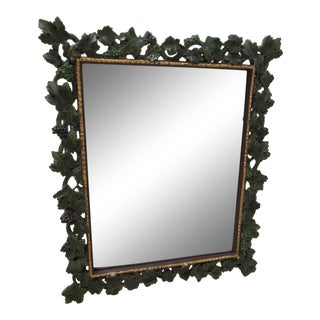 1980s Vintage Entree Decorative Grape Vines Leaves Hanging Rectangular Wall Mirror For Sale