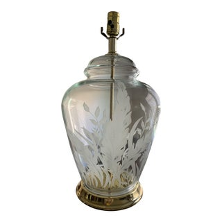 1970's Clear Hand Pressed Glass Lamp W/Hand-Etched & Painted White Fern Foliage, Solid Brass Center Post & Base, Signed Original As. For Sale