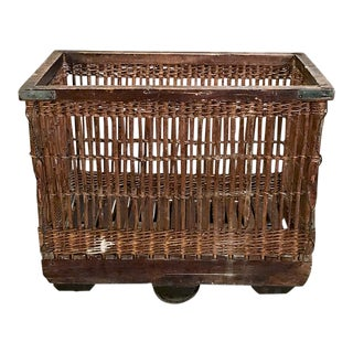 Antique Wicker Industrial Cart For Sale