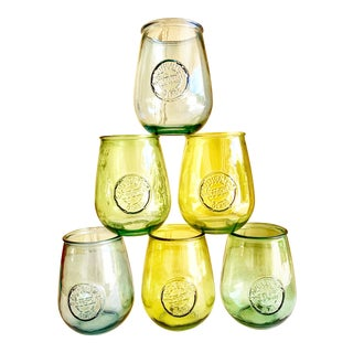 Set of Six Stemless Recycled Glass Wine Goblets For Sale