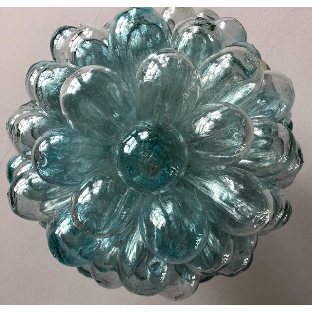 Turquoise Aquamarine Chandler of Hand-Blown Glass For Sale - Image 8 of 10