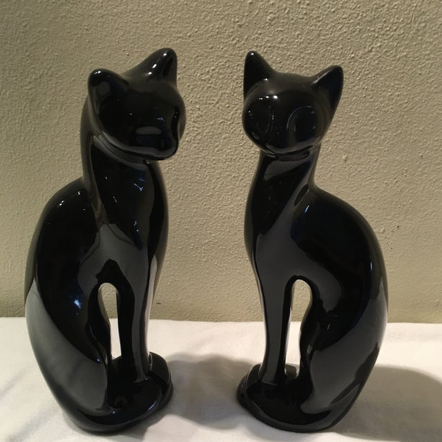 Mid-Century Sleek Black Cat Sculptures - A Pair - Image 2 of 4