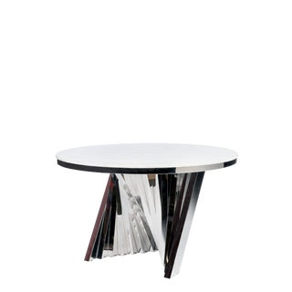 Modern Chrome Waterfall Marble Top Dining Table For Sale