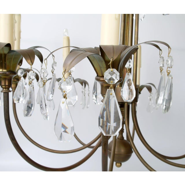 Brass Palm Leaf Chandelier - Image 6 of 10