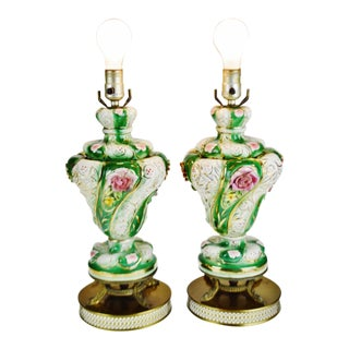 Vintage Capodimonte Style Table Lamps - a Pair For Sale