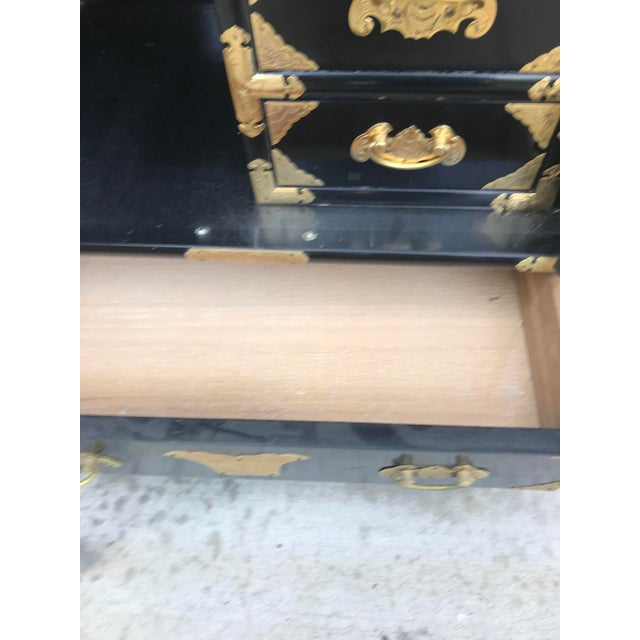 Black 19th Century Antique Black Chinese Cabinet For Sale - Image 8 of 13
