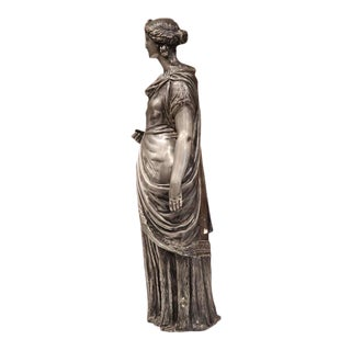 19th Century French Roman Woman in Long Dress Pewter Statue For Sale