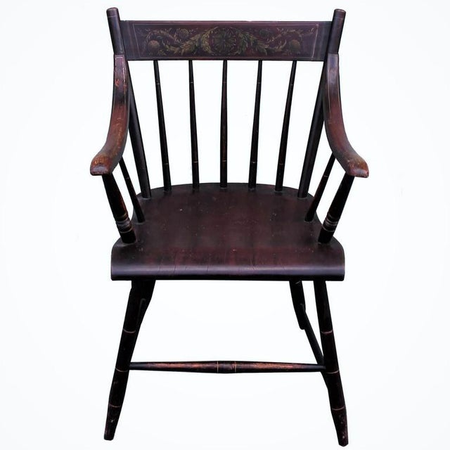 Early 19th century original painted Hitchcock armchair with a decorated inside back. The condition is very good and...