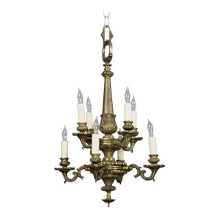 Small French 1940s Bronze Chandelier With Eight Lights For Sale