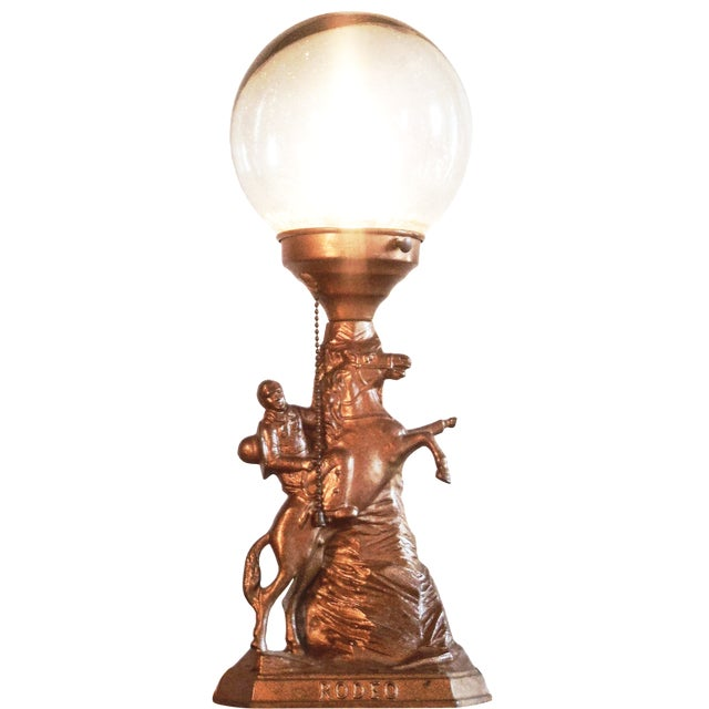 Cowboy Rodeo Bronze Lamp with Glass Globe - Image 1 of 4