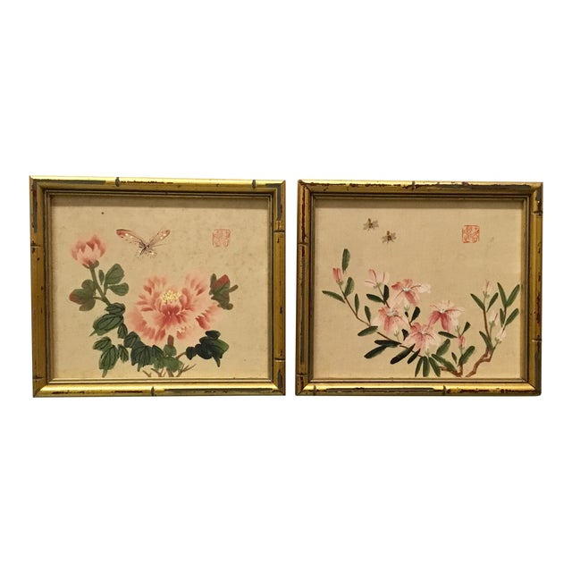 Vintage Watercolors in Gilt Faux Bamboo Frames - A Pair   Chairish