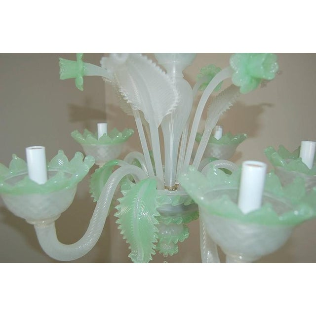Murano Chandelier Vintage Murano Glass Opaline White Green For Sale - Image 4 of 11