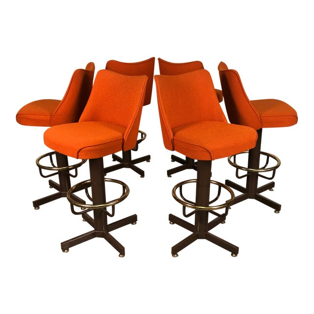 Orange Tweed Mid-Century Modern Bar Stool With Brass Foot Ring ~ Set of 6 For Sale