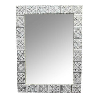 Shabby Chic White Starflake Tin Mirror For Sale